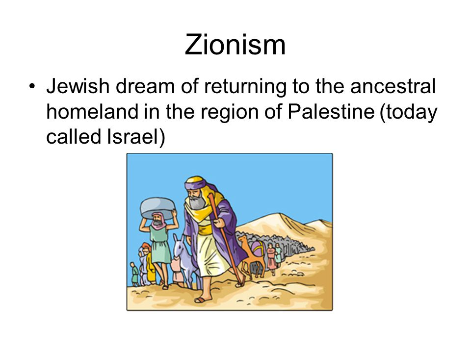 Zionism Jewish dream of returning to the ancestral homeland in the region of Palestine (today called Israel)