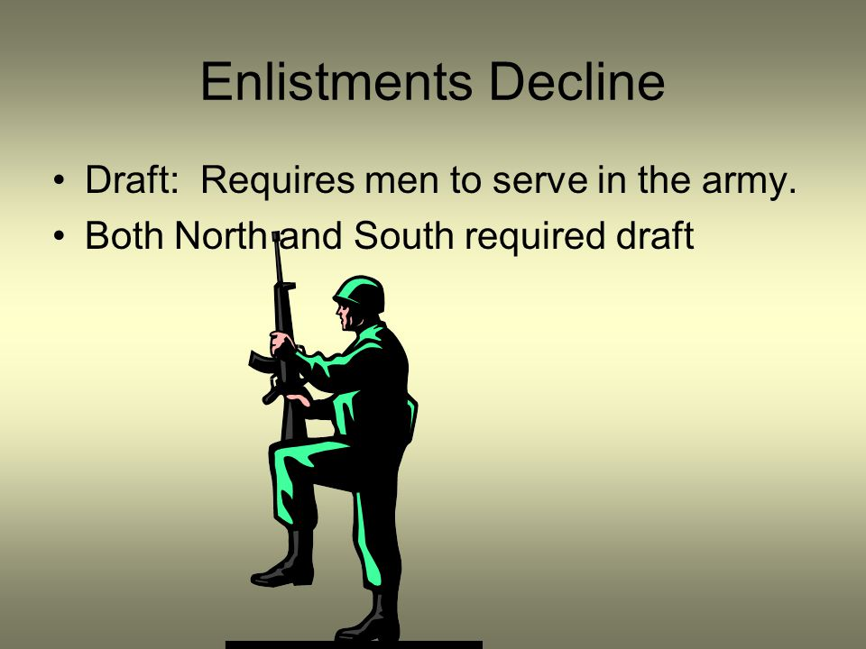 Enlistments Decline Draft: Requires men to serve in the army. Both North and South required draft