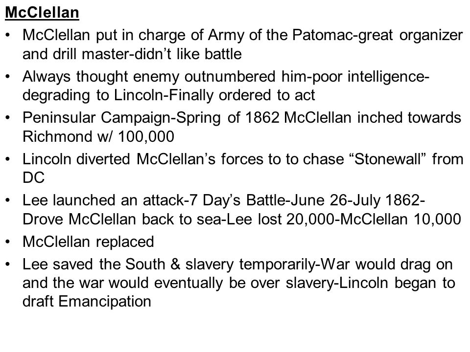6 Part Strategy Suffocate South, Liberate Slaves to undermine economy of South, Cut Confederacy in half by taking Mississippi, Chop Confederacy into pieces, Decapitate by taking capital, try to engage enemy & grind to submission War at Sea Blockade started leakily-simplified by concentrating on main ports Britain warned its shippers & told them to go at their own peril Did not want to hurt future blockades Merrimack/Monitor