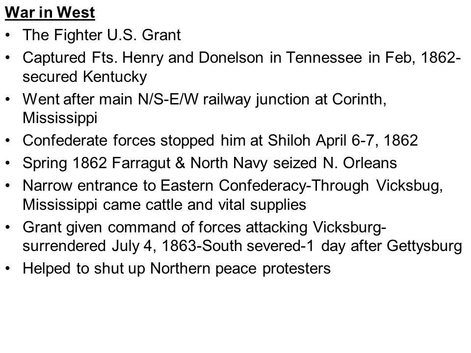 War in West The Fighter U.S. Grant Captured Fts.