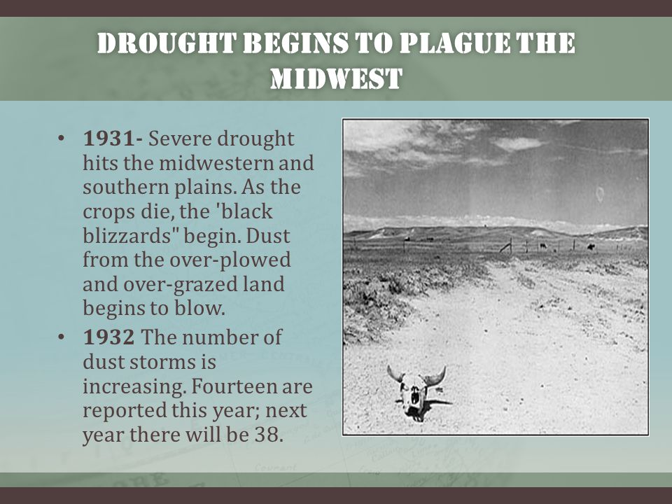 1934 – THE DROUGHT WORSENS 1934 May Great dust storms spread from the Dust Bowl area.