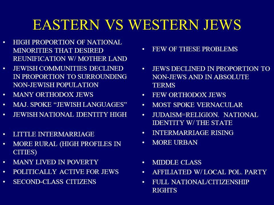 EASTERN VS WESTERN JEWS HIGH PROPORTION OF NATIONAL MINORITIES THAT DESIRED REUNIFICATION W/ MOTHER LAND JEWISH COMMUNITIES DECLINED IN PROPORTION TO