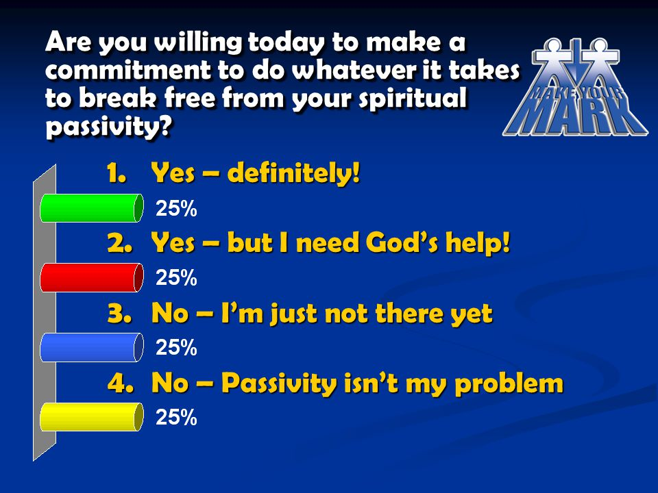 Are you willing today to make a commitment to do whatever it takes to break free from your spiritual passivity? 1. Yes – definitely! 2. Yes – but I ne