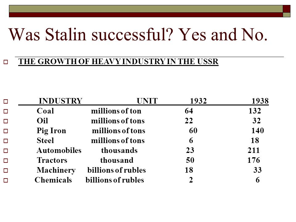 Was Stalin successful. Yes and No.