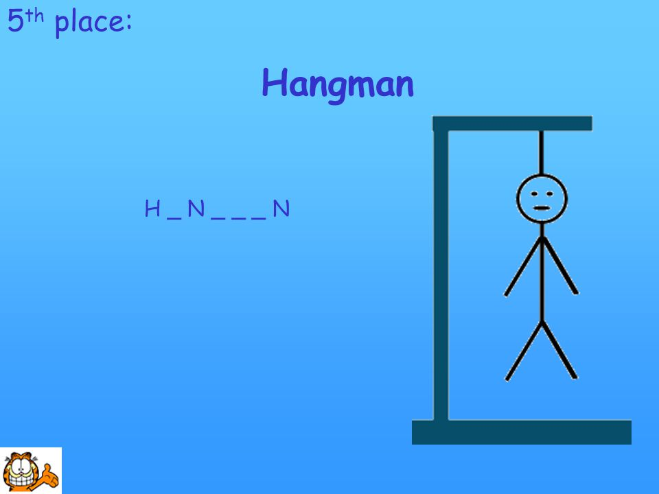 5 th place: Hangman H _ N _ _ _ N