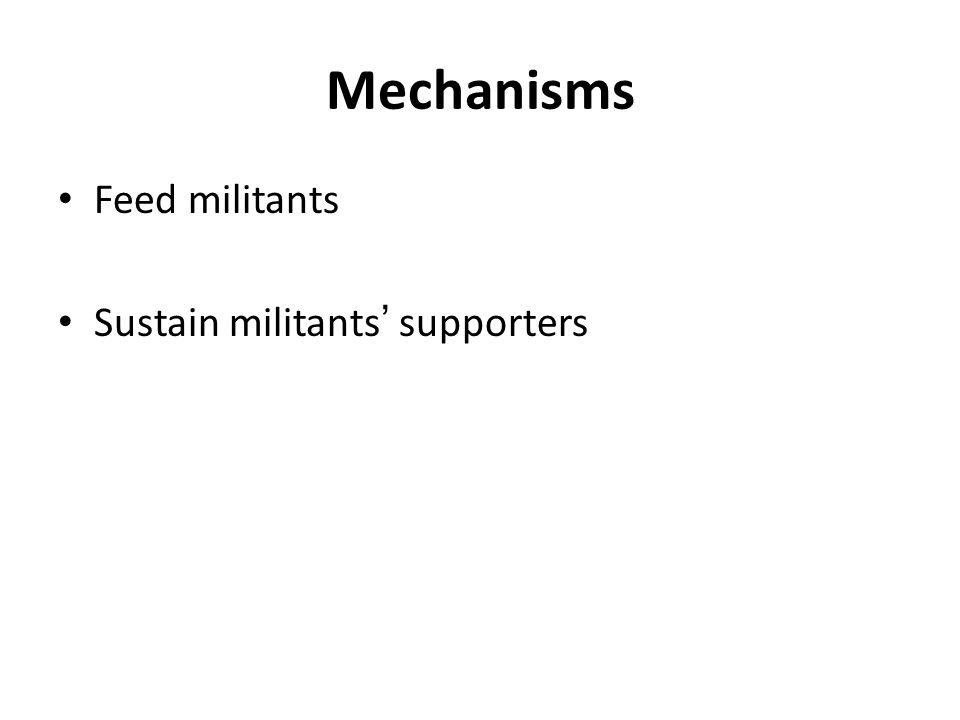 Mechanisms Feed militants Sustain militants' supporters
