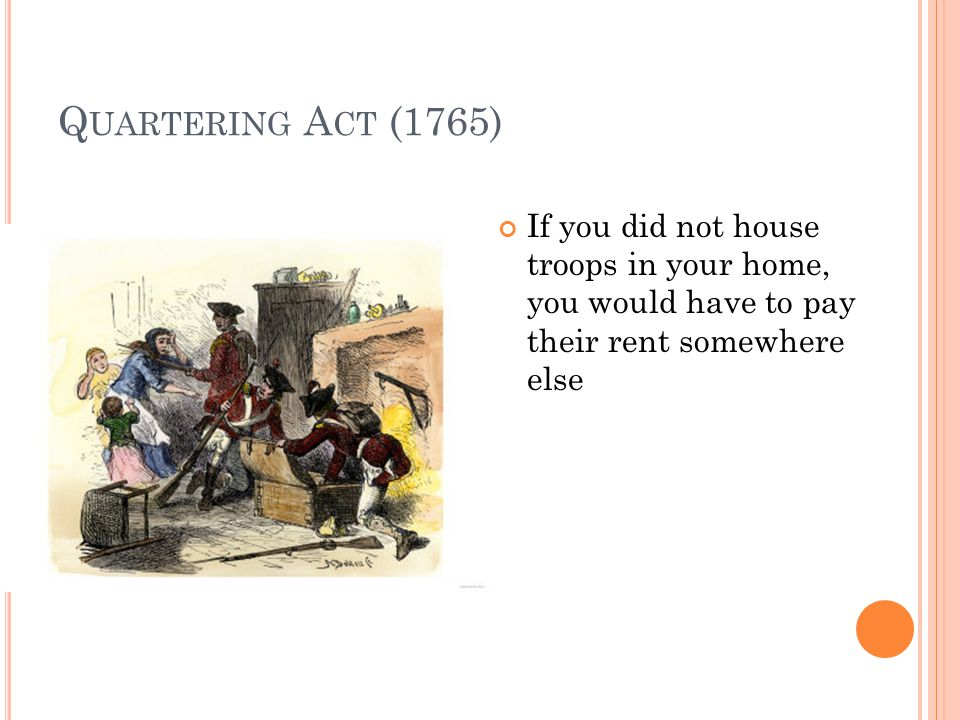 Q UARTERING A CT (1765) If you did not house troops in your home, you would have to pay their rent somewhere else