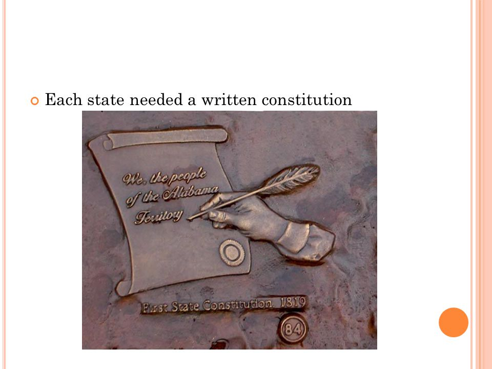 Each state needed a written constitution
