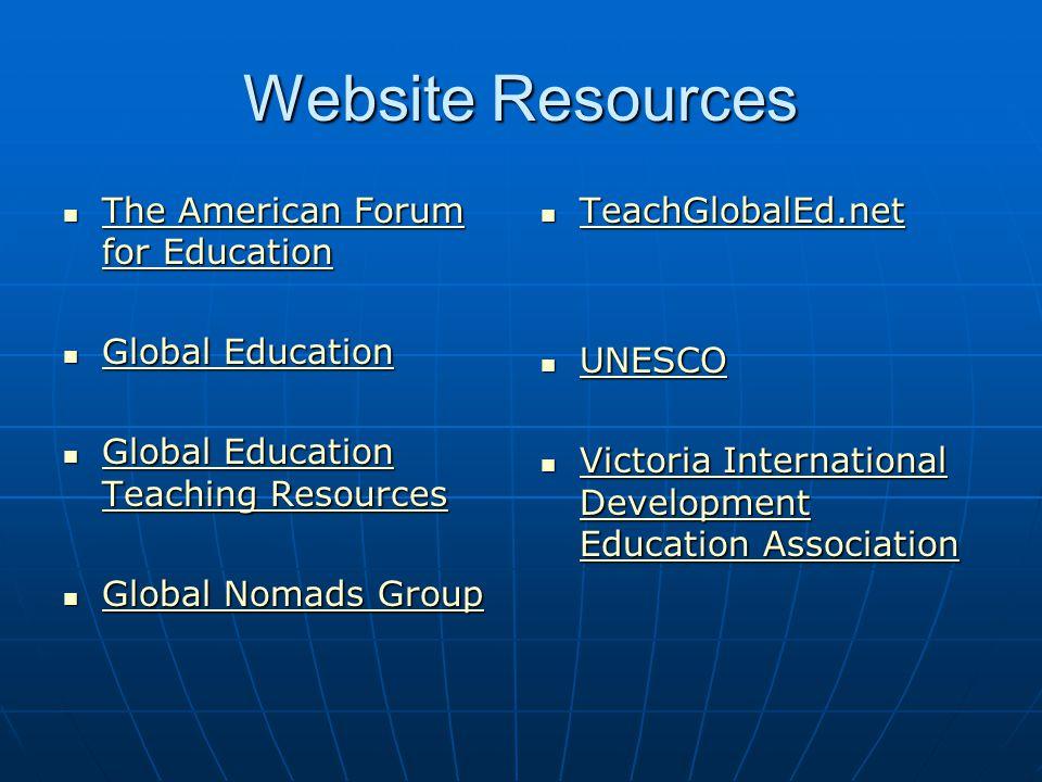 Website Resources TeachGlobalEd.net TeachGlobalEd.net TeachGlobalEd.net UNESCO UNESCO UNESCO Victoria International Development Education Association