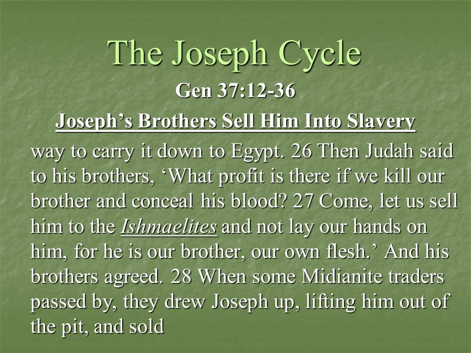 The Joseph Cycle Gen 37:12-36 Joseph's Brothers Sell Him Into Slavery way to carry it down to Egypt.