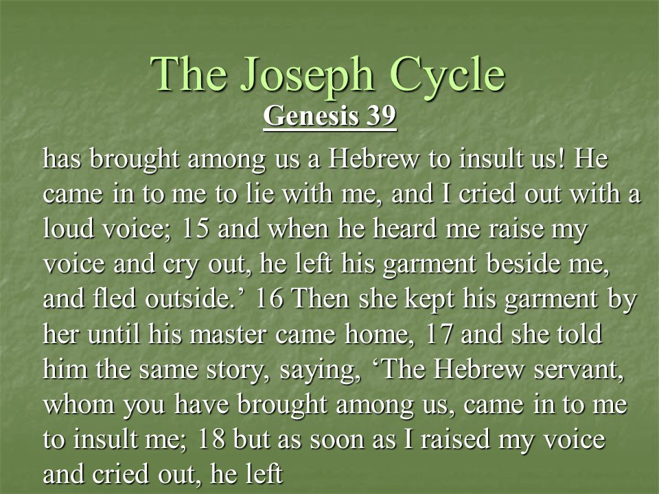 The Joseph Cycle Genesis 39 has brought among us a Hebrew to insult us.