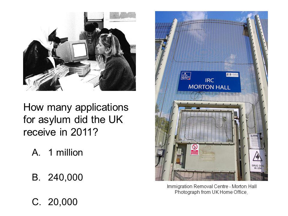 A. 1 million B. 240,000 C. 20,000 How many applications for asylum did the UK receive in 2011.