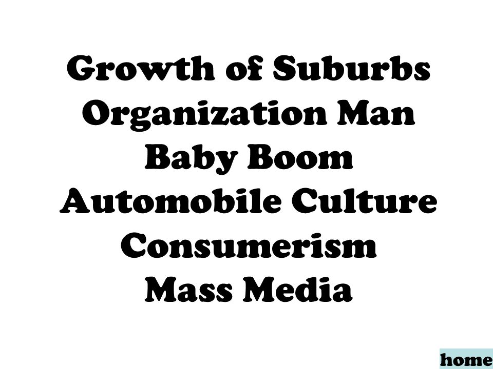 Growth of Suburbs Organization Man Baby Boom Automobile Culture Consumerism Mass Media home