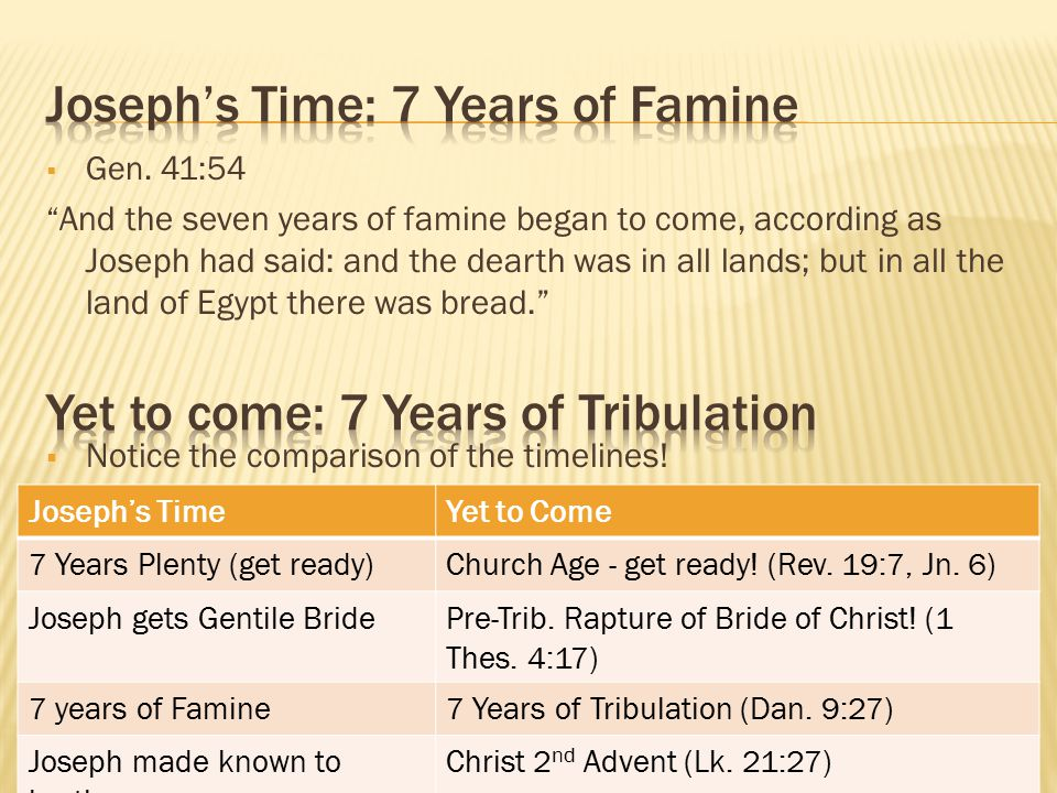 " Gen. 41:54 "" And the seven years of famine began to come, according as Joseph had said: and the dearth was in all lands; but in all the land of Egyp"