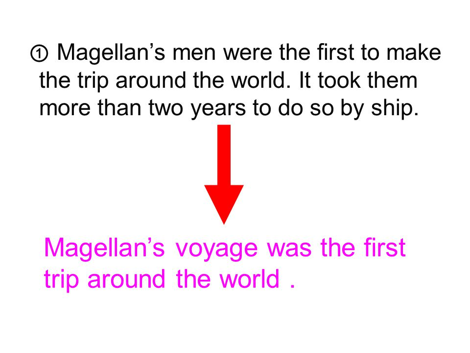 5 ① Magellan's men were the first to make the trip around the world. It took them more than two years to do so by ship. ② Magellan was from Portugal,