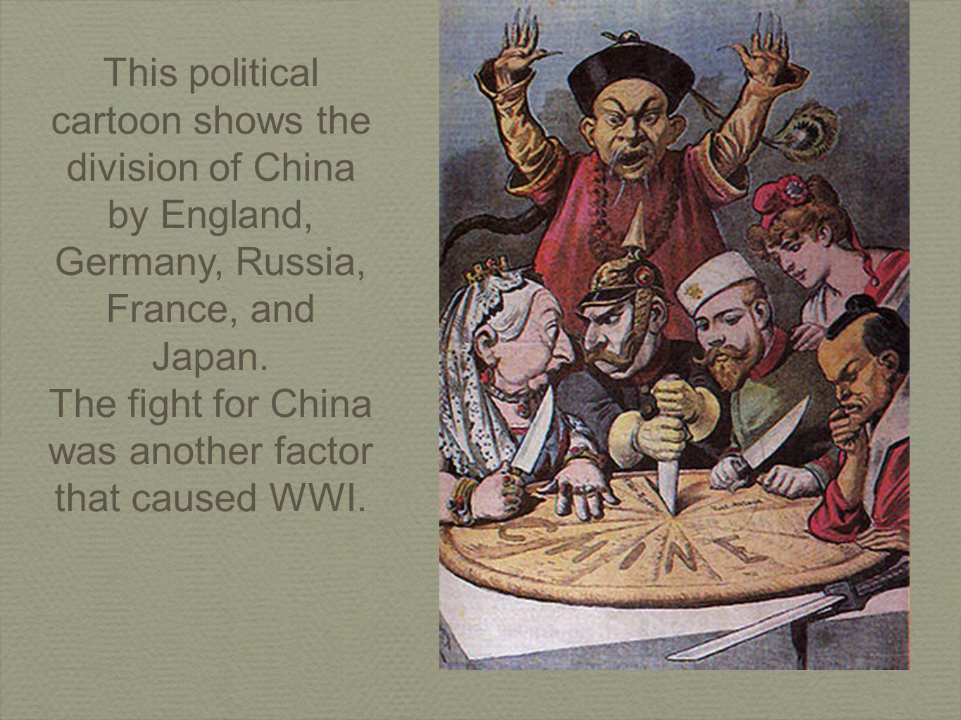 This political cartoon shows the division of China by England, Germany, Russia, France, and Japan.