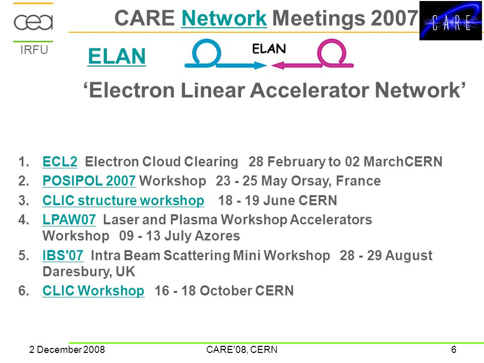 IRFU 2 December 2008CARE'08, CERN6 CARE Network Meetings 2007Network ELAN 'Electron Linear Accelerator Network' 1.ECL2 Electron Cloud Clearing 28 Febr