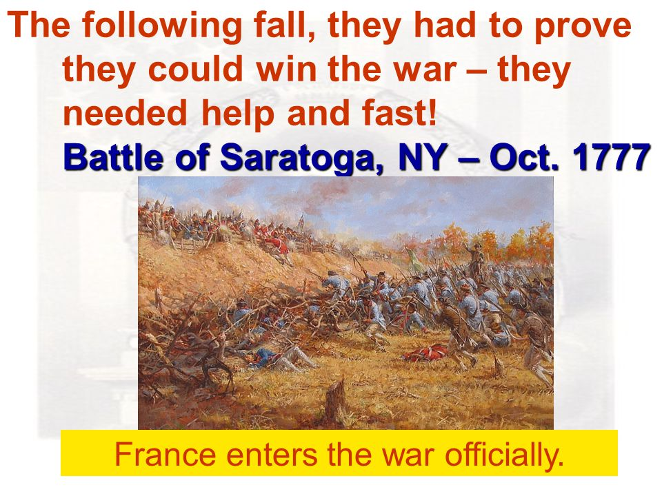 Battle of Saratoga, NY – Oct.