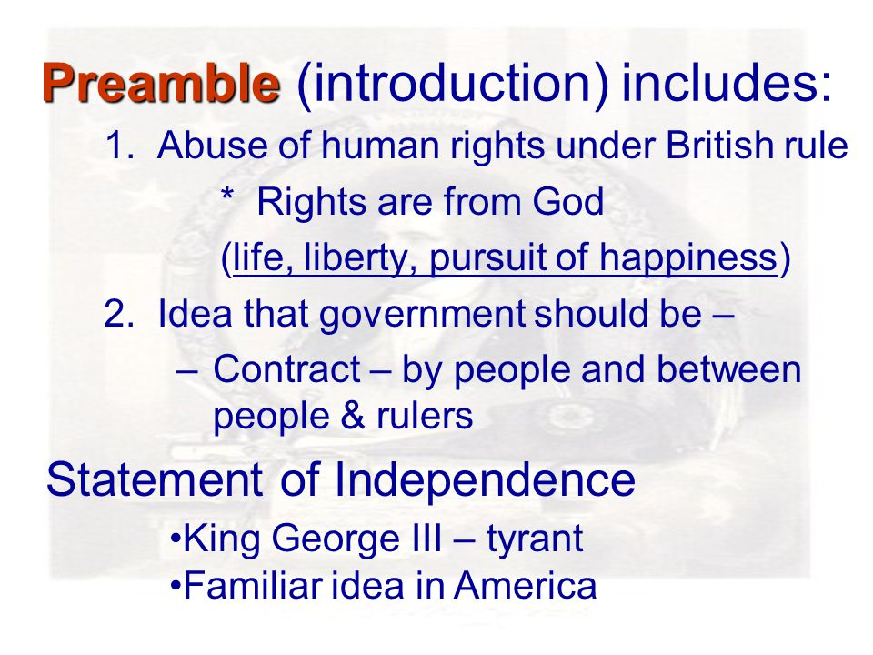 Preamble Preamble (introduction) includes: 1.
