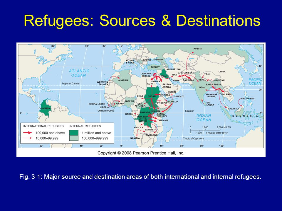 Refugees: Sources & Destinations Fig. 3-1: Major source and destination areas of both international and internal refugees.