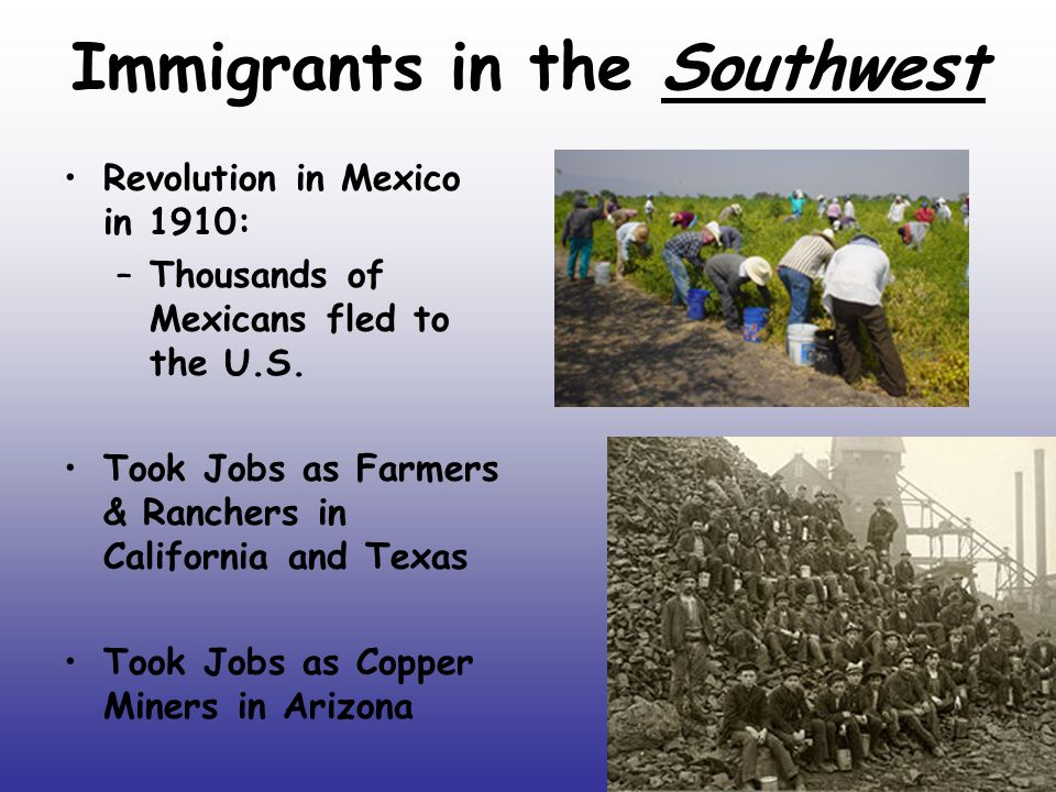 Immigrants in the Southwest Revolution in Mexico in 1910: –Thousands of Mexicans fled to the U.S.