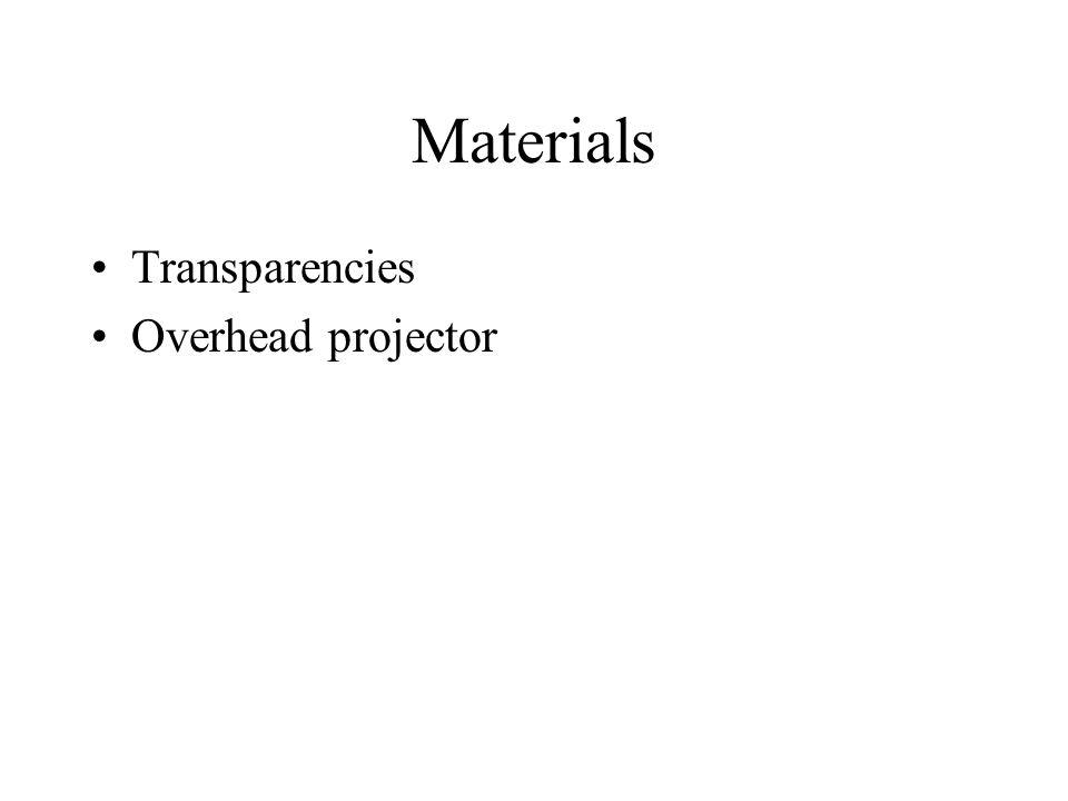 Materials Transparencies Overhead projector