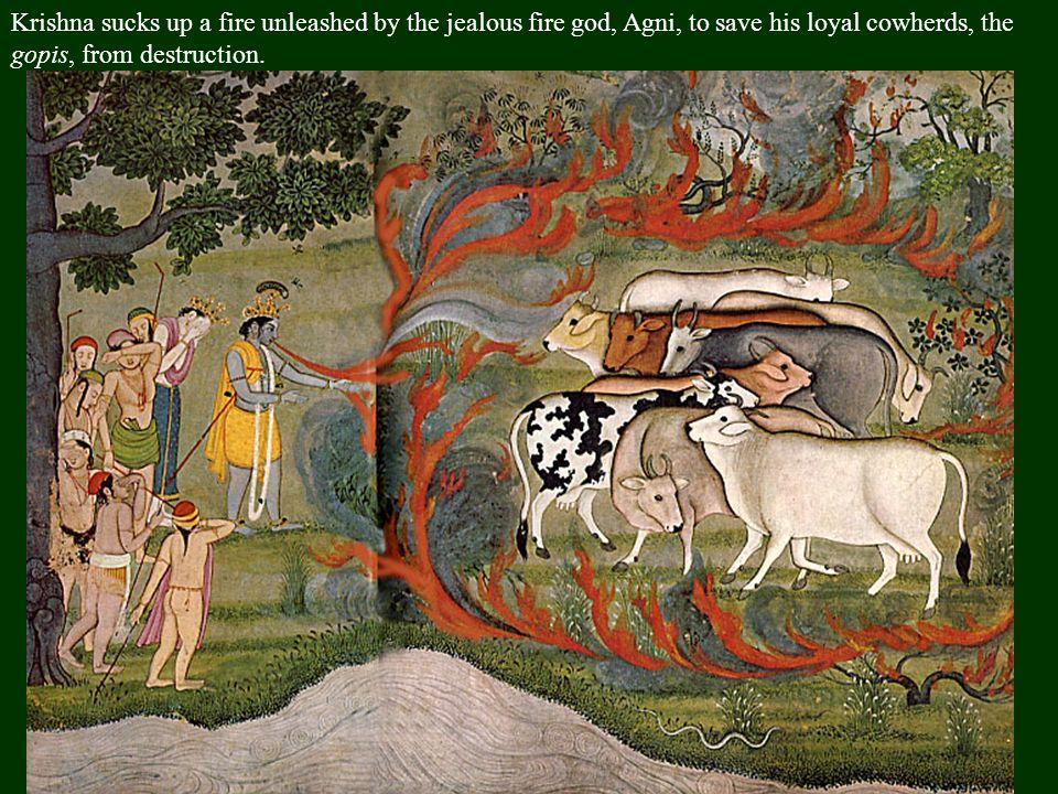 Garuda, king of the birds, carries Krishna & Radha through the air.