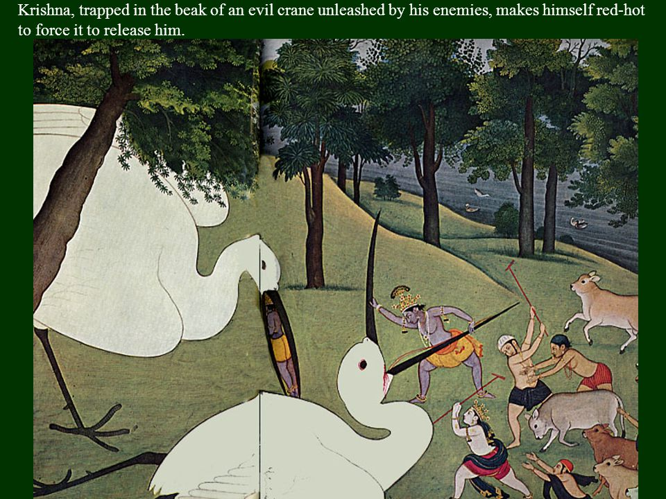 Krishna sucks up a fire unleashed by the jealous fire god, Agni, to save his loyal cowherds, the gopis, from destruction.