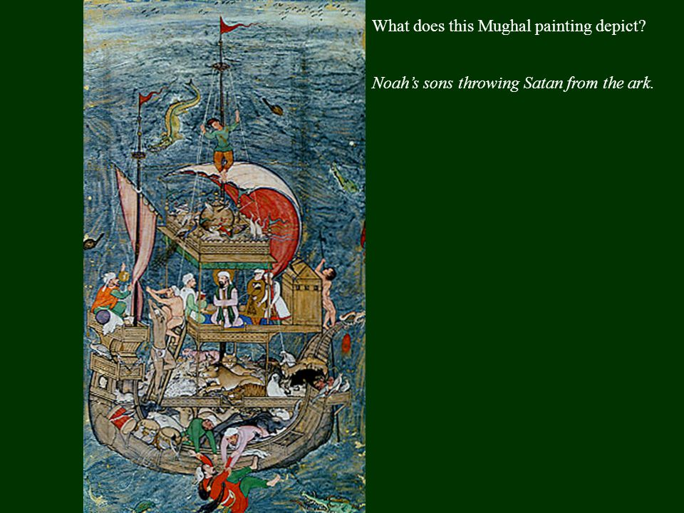 Who is being depicted in this Persian miniature and what seems odd about that.