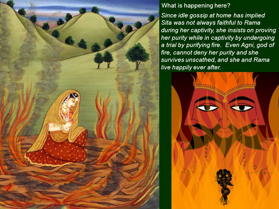 The monkeys are building a bridge from India to Lanka so Rama can attack Ravana's demon army.