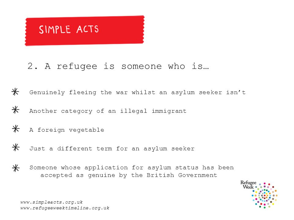 www.simpleacts.org.uk www.refugeeweektimeline.org.uk Answer Someone whose application for asylum status has been accepted as genuine by the British Government