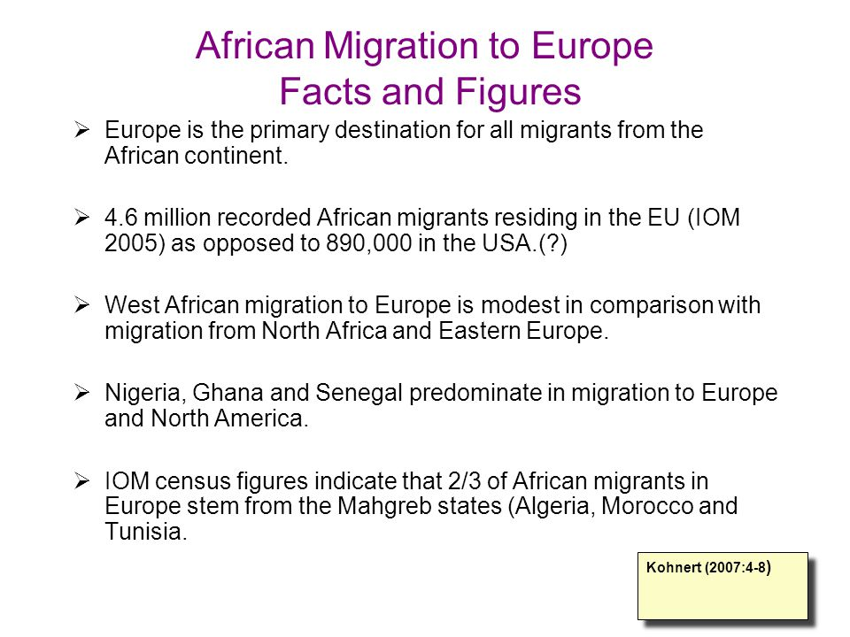 African Migration to Europe Facts and Figures  Europe is the primary destination for all migrants from the African continent.