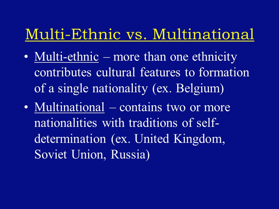 Multi-Ethnic vs.
