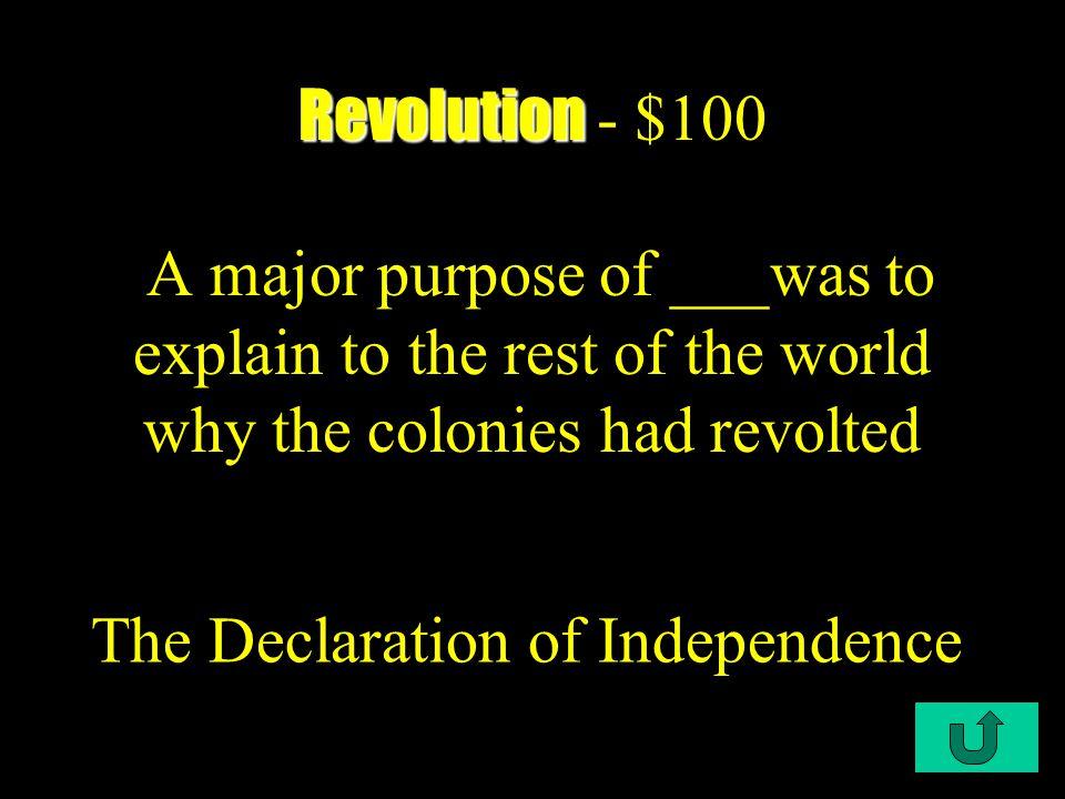 $100 $200 $300 $400 $500 The New Country Rise of a DemocracyDisunion Civil War Post-CWRevolution