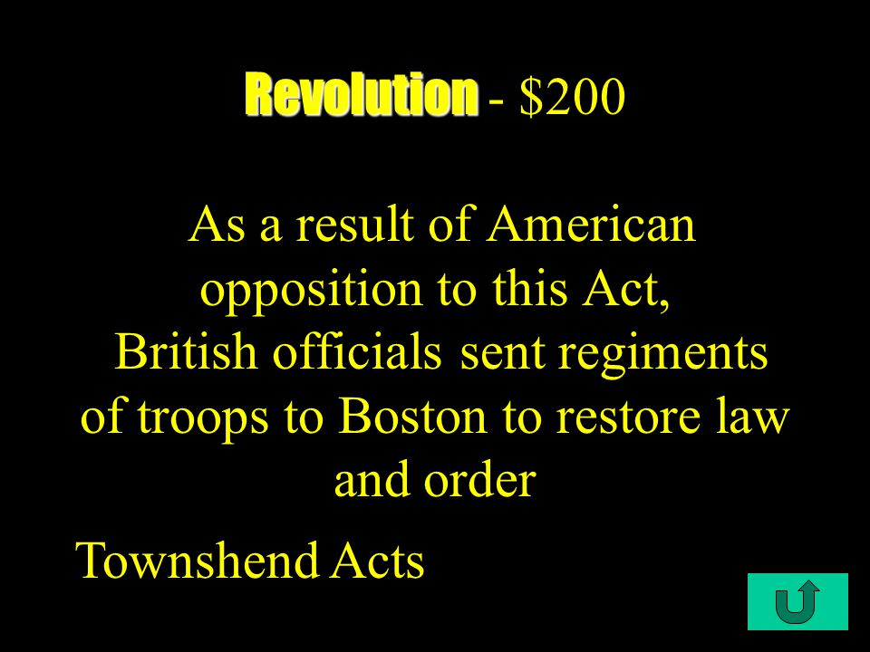 C1-$100 Revolution Revolution - $100 A major purpose of ___was to explain to the rest of the world why the colonies had revolted The Declaration of Independence