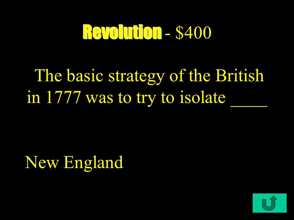 C1-$300 Revolution Revolution - $300 When the ______ chose George Washington's to lead the colonial army was as largely political matter.