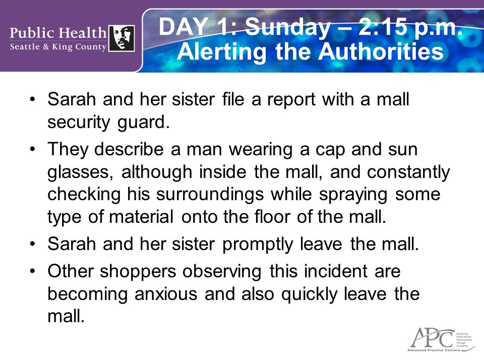 DAY 1: Sunday – 2:15 p.m. Alerting the Authorities Sarah and her sister file a report with a mall security guard. They describe a man wearing a cap an
