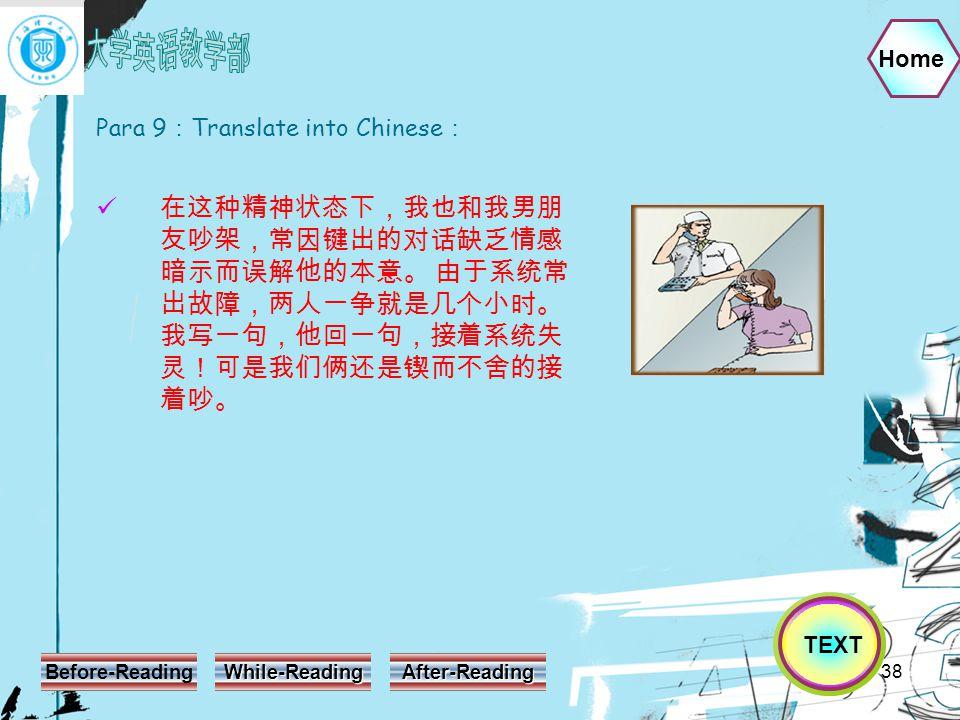 Home Before-Reading While-Reading After-Reading 38 Para 9 : Translate into Chinese : 在这种精神状态下,我也和我男朋 友吵架,常因键出的对话缺乏情感 暗示而误解他的本意。 由于系统常 出故障,两人一争就是几个小时。 我写一句,他回一句,接着系统失 灵!可是我们俩还是锲而不舍的接 着吵。 TEXT