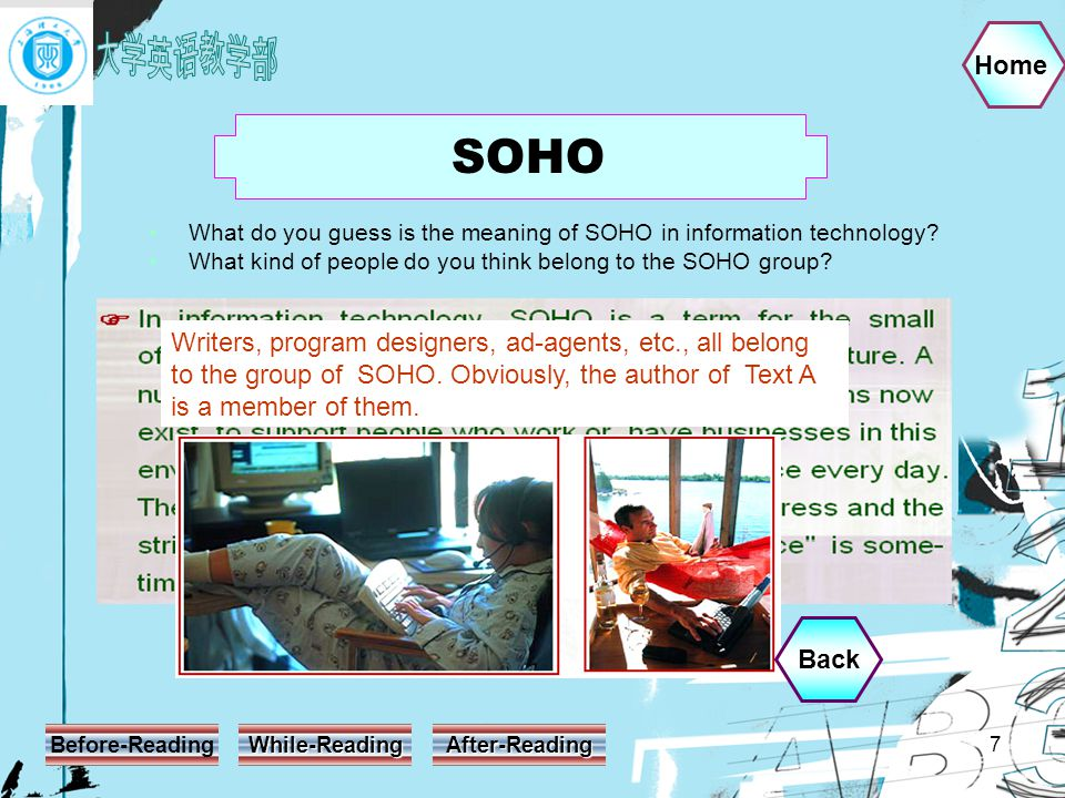 Home Before-Reading While-Reading After-Reading 7 What do you guess is the meaning of SOHO in information technology.