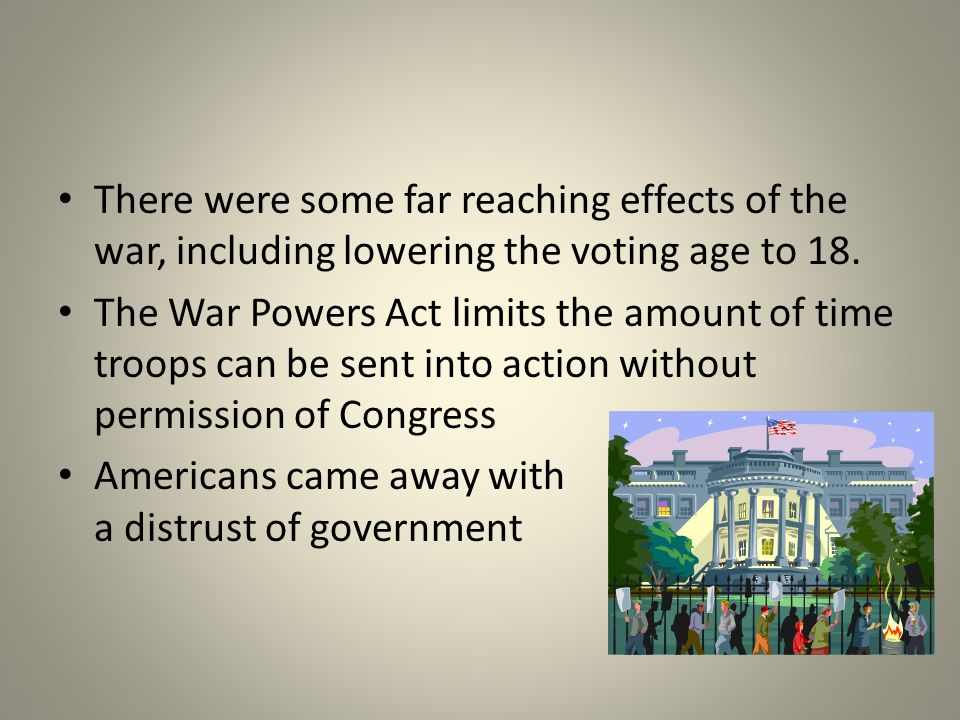 There were some far reaching effects of the war, including lowering the voting age to 18.