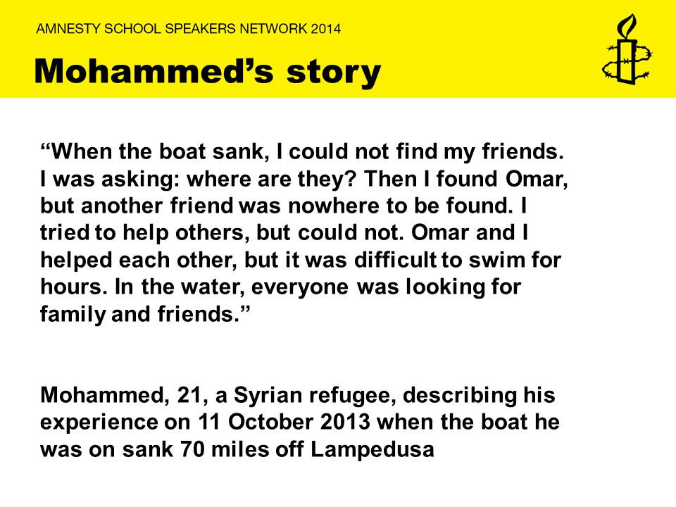 Mohammed's story When the boat sank, I could not find my friends.