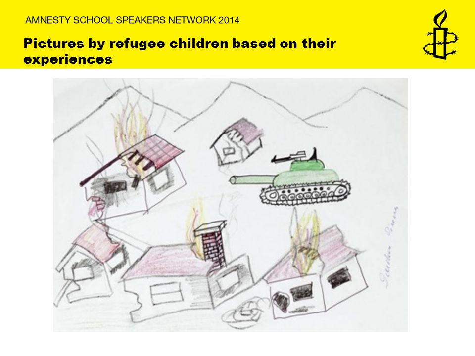 Pictures by refugee children based on their experiences