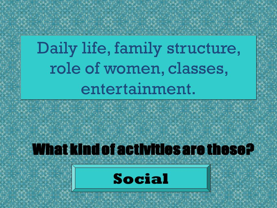 Daily life, family structure, role of women, classes, entertainment. Social