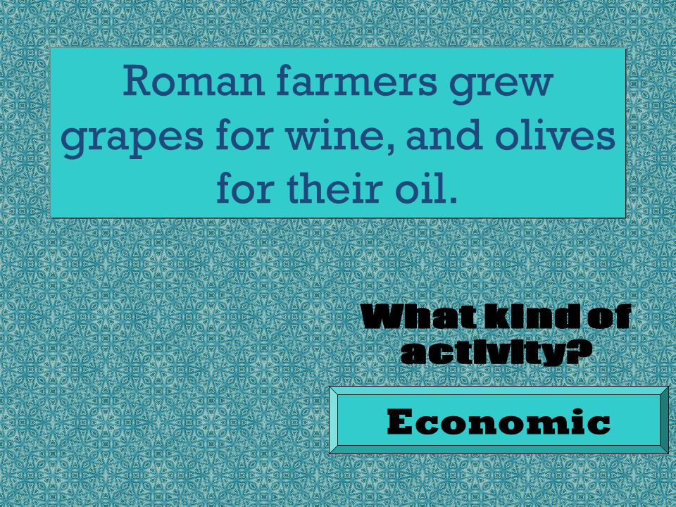 Roman farmers grew grapes for wine, and olives for their oil. Economic
