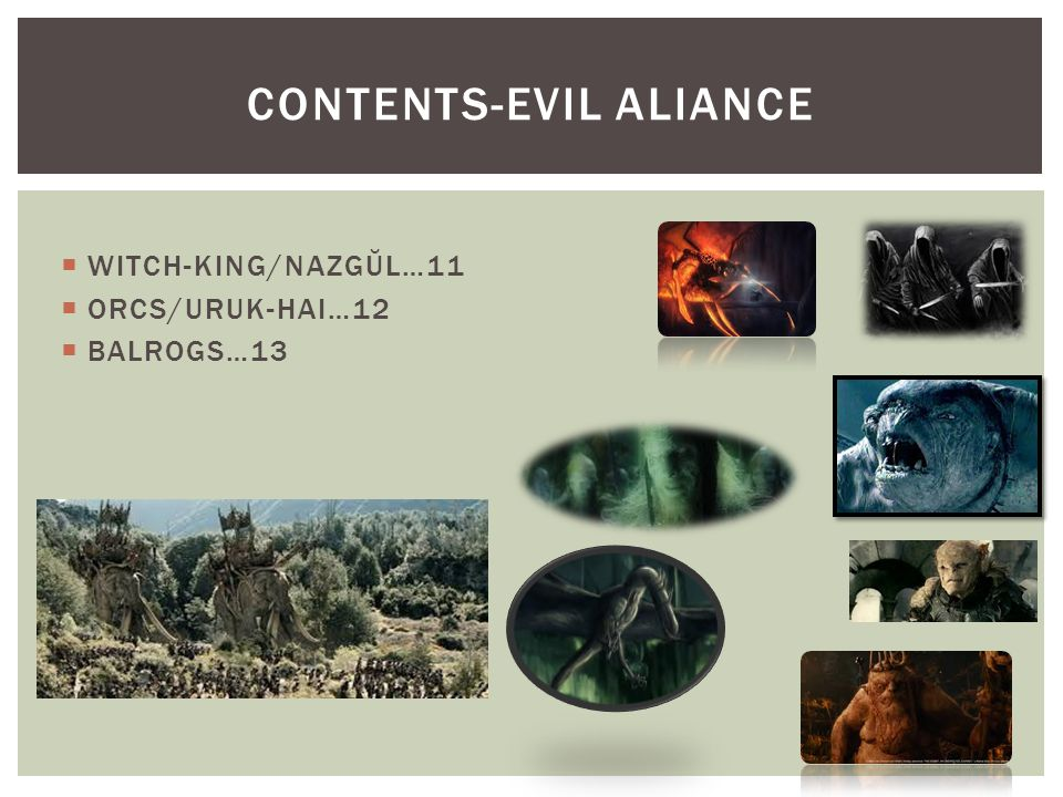  WITCH-KING/NAZGŬL…11  ORCS/URUK-HAI…12  BALROGS…13 CONTENTS-EVIL ALIANCE