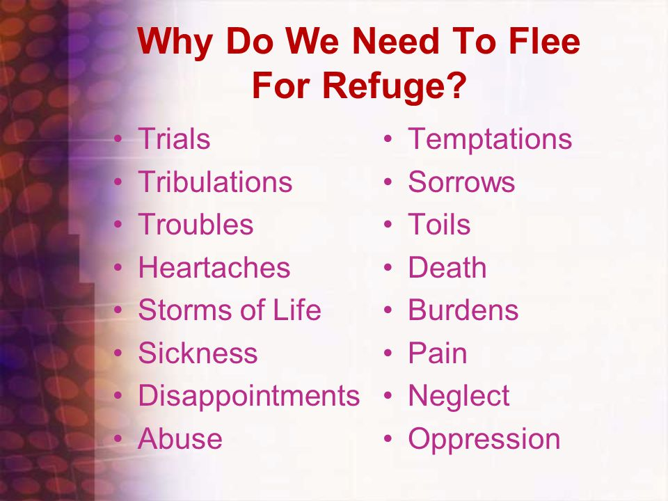 Why Do We Need To Flee For Refuge.