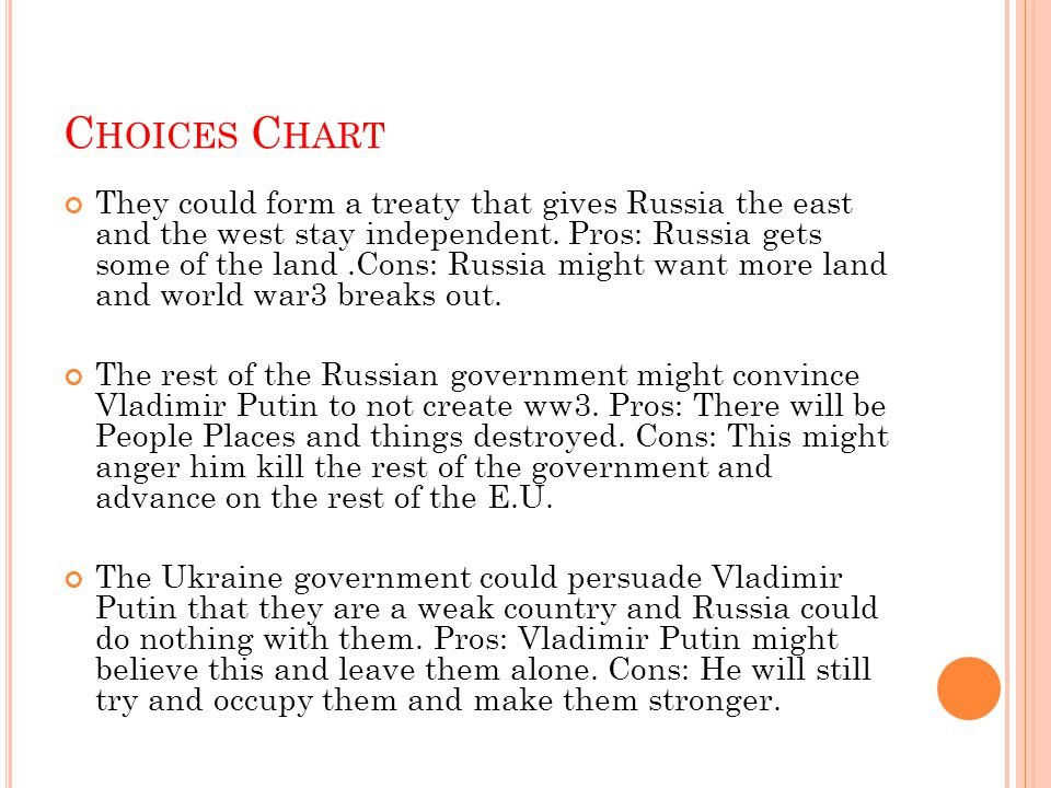 C HOICES C HART They could form a treaty that gives Russia the east and the west stay independent. Pros: Russia gets some of the land.Cons: Russia mig
