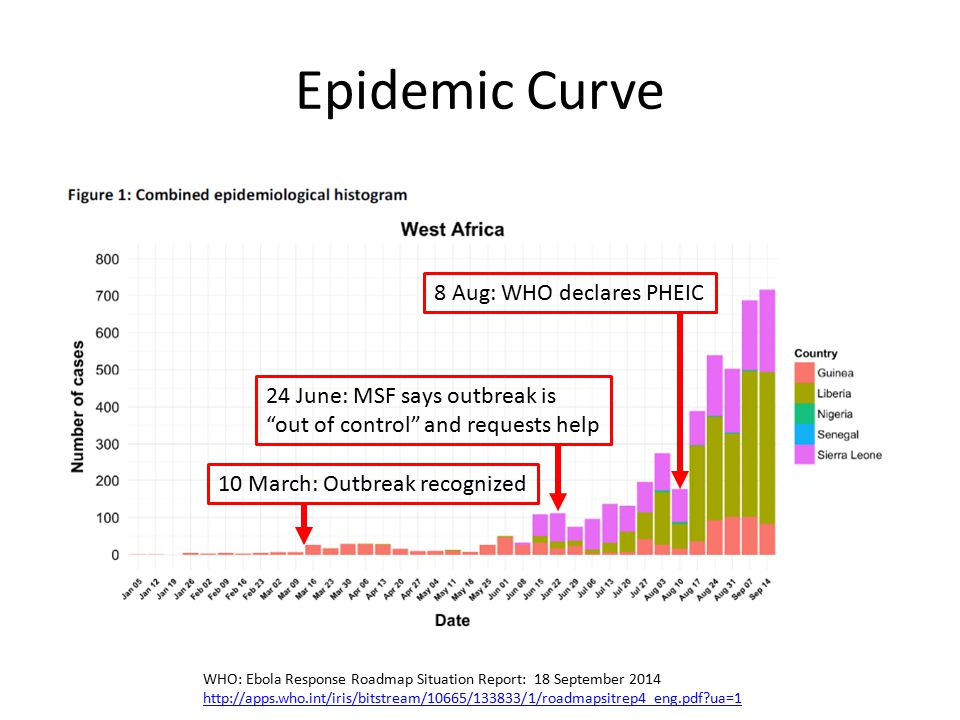 Epidemic Curve WHO: Ebola Response Roadmap Situation Report: 18 September 2014 http://apps.who.int/iris/bitstream/10665/133833/1/roadmapsitrep4_eng.pdf?ua=1 24 June: MSF says outbreak is out of control and requests help 8 Aug: WHO declares PHEIC 10 March: Outbreak recognized