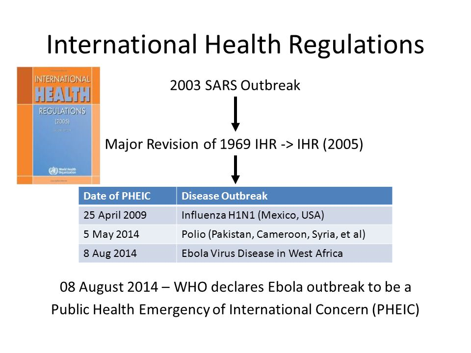 International Health Regulations 08 August 2014 – WHO declares Ebola outbreak to be a Public Health Emergency of International Concern (PHEIC) 2003 SARS Outbreak Major Revision of 1969 IHR -> IHR (2005) Date of PHEICDisease Outbreak 25 April 2009Influenza H1N1 (Mexico, USA) 5 May 2014Polio (Pakistan, Cameroon, Syria, et al) 8 Aug 2014Ebola Virus Disease in West Africa