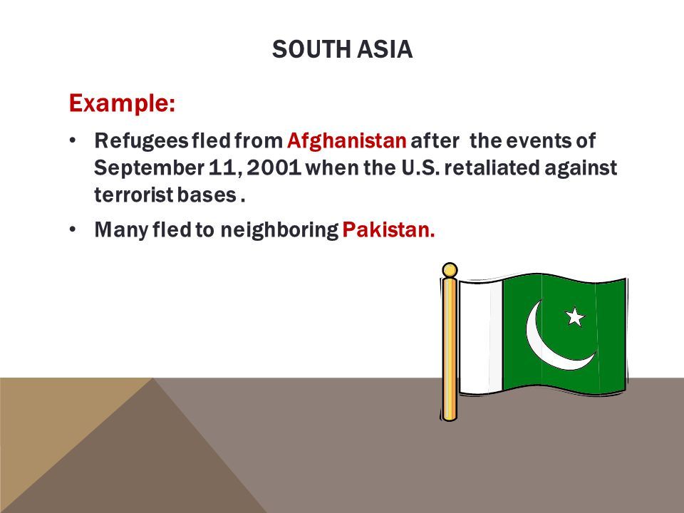 SOUTH ASIA Example: Refugees fled from Afghanistan after the events of September 11, 2001 when the U.S.
